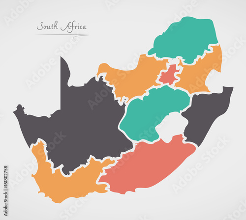 Obraz na plátně South Africa Map with states and modern round shapes