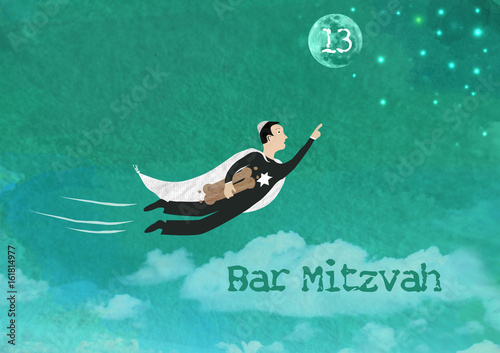 Fotografie, Obraz  Bar Mitzvah Invitation Card