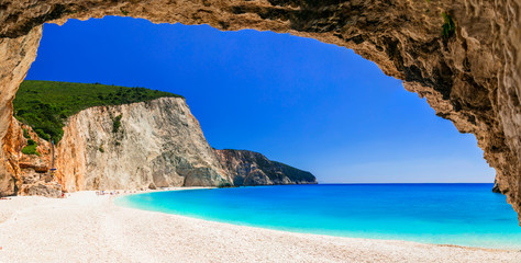 Panel SzklanyMost beautiful beaches of Greece series - Porto Katsiki in Lefkada, Ionian islands