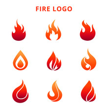 Colorful Flame Of Fire Logo Isolated On White Background