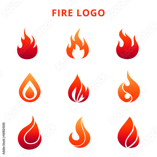 Obraz Colorful flame of fire logo isolated on white background - fototapety do salonu