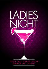 Vektor Vorlage Party Ladies Night Design Mit Cocktail Glas