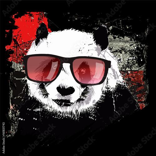 Fotobehang Art Studio Cute panda on grunge background