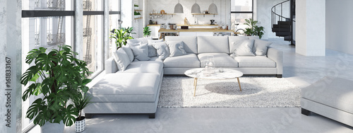 Fototapeta modern loft apartment. 3D rendering obraz
