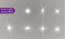 Star On A Transparent Background,light Effect,vector Illustration. Burst With Sparkles.