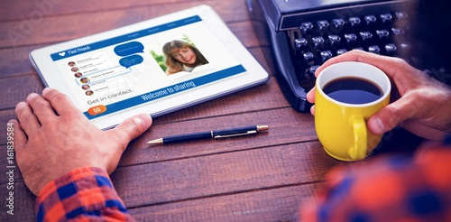 Foto op Plexiglas Retro Composite 3d image of interface of chat application