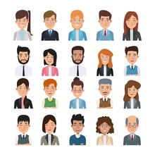White Background Of Colorful Half Body Set Of Multiple People For Business