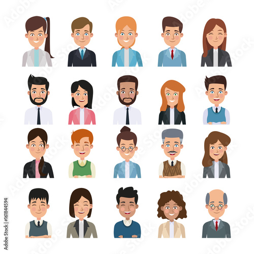 Valokuvatapetti white background of colorful half body set of multiple people for business