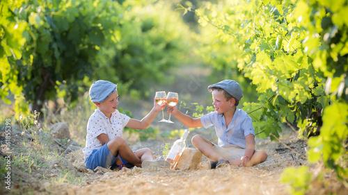 Vineyard Children taste wine in the vineyard in France