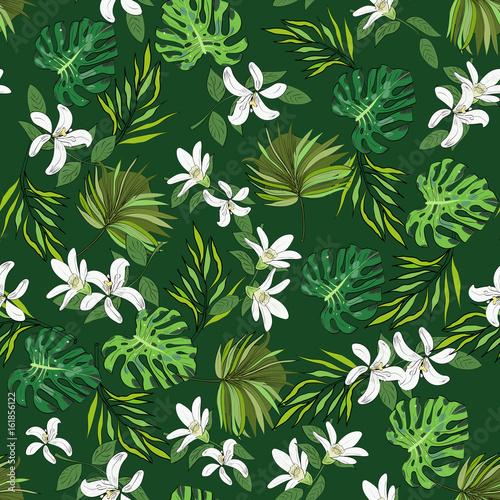 bezszwowe-wektor-wzor-wyciagnac-reke-kwiaty-i-liscie-tropikalny-tlo