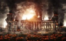 Destroyed Building Burning