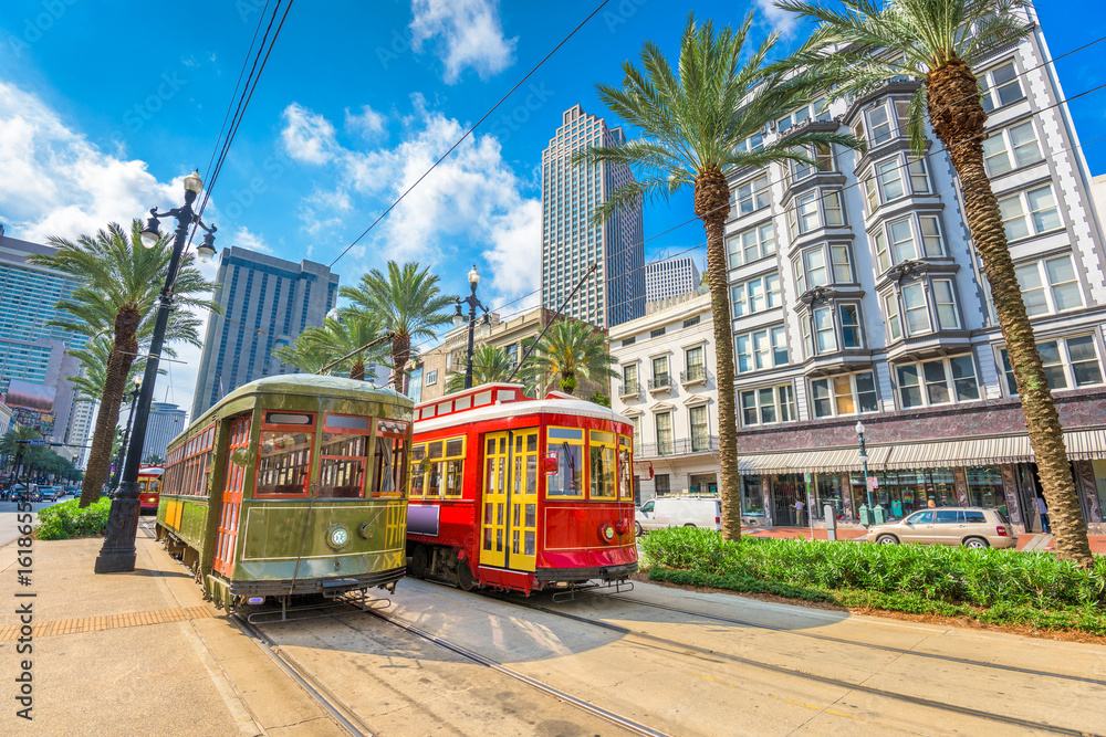 Fototapety, obrazy: New Orleans, Louisiana, USA streetcars
