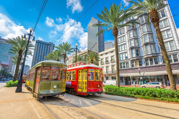 Fototapeta na wymiar New Orleans, Louisiana, USA streetcars