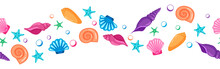 Banner With Hand Drawn Seashells And Starfishes Forming A Wave. Cartoon Style.