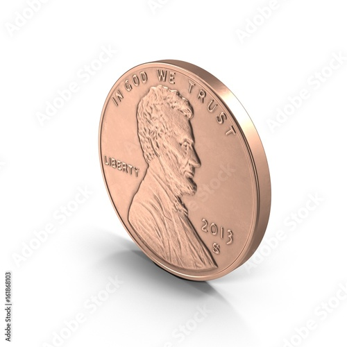 Pinturas sobre lienzo  Lincoln penny on white. 3D illustration