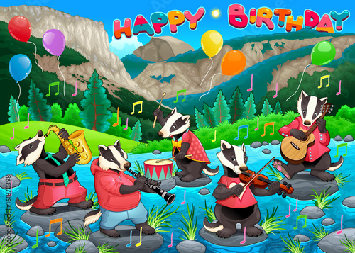 Staande foto Kinderkamer Happy Birthday card with funny badgers playing music