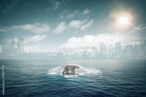 In de dag Ijsbeer Ours polaire sur une petite banquise au milieu de l'océan