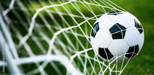 Obraz Soccer ball in goal - fototapety do salonu