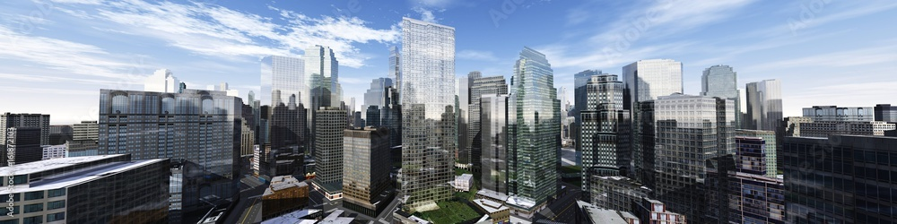 Fototapety, obrazy: Beautiful view of the skyscrapers, modern city landscape, 3d rendering