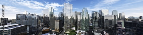 Photo Stands Blue sky Beautiful view of the skyscrapers, modern city landscape, 3d rendering