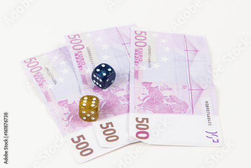 Euro notes and dice плакат