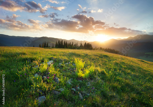 Foto auf Gartenposter Gebirge Sunset in the mountain valley. Beautiful natural landscape in the summer time
