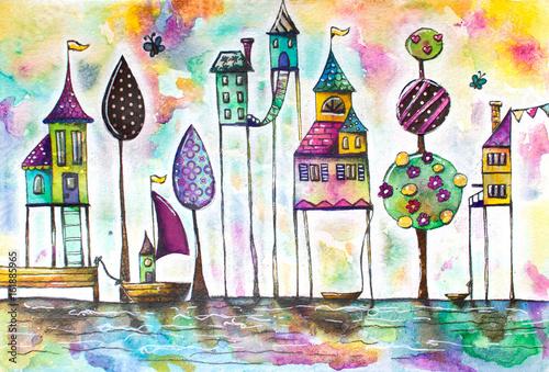 akwarela-magiczne-domy-miasto-ulica-recznie-rysowane-ilustracja