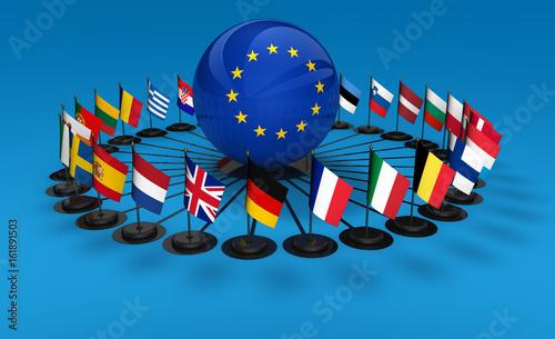 Photo EU Flags European Union Concept