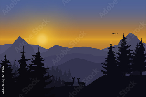 Foto op Plexiglas Purper Vector illustration of a mountain landscape with deer in a forest under the sky with dawn