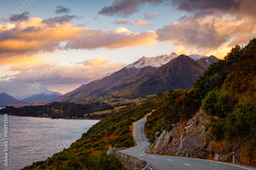 Foto op Canvas Zalm Scenic view of mountain landscape and the road, Bennetts bluff, NZ