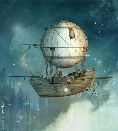 Obraz na plátně Steampunk fantasy vessel