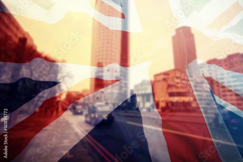 Fototapeta UK flag and financial buildings