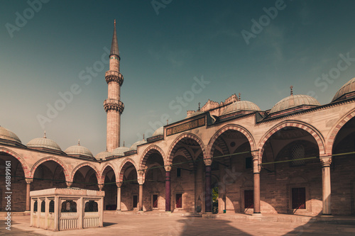View of the majestic Suleiman Mosque  (Suleymaniye Camii) patio Poster