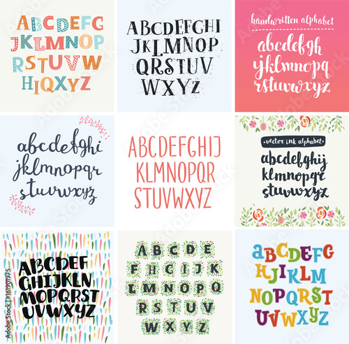 Cuadros en Lienzo  Vector set of four difference english Alphabets.