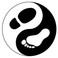 Men's Foot And Footprint Of Shoe As Yin Yang Sign