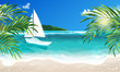 Vector eps 10. Summer vacation on island. Travel summer time on sea, white yacht