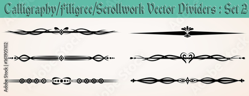 Calligraphy/Filgree/ Scrollwork Vector Dividers: Set 2 Fototapeta