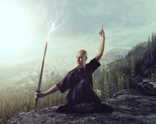 Wushu Master With Blade, Lightning Control