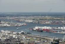 Aerial View On The Scheldt River Running Through The Port Of Antwerp