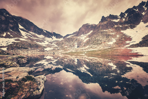Color toned picture of a lake in High Tatra Mountains, Slovakia. - 161910563
