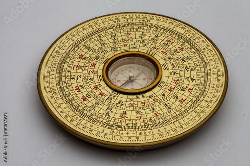 Plakat Chiński kompas Luopan, używany do czytania Feng Shui środowiska.