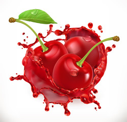 Panel Szklany Owoce Cherry juice. Fresh fruit, 3d vector icon