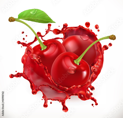 Fotografie, Tablou Cherry juice. Fresh fruit, 3d vector icon