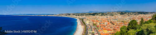 Large panorama of Nice city coastline on the Mediterranean Sea