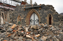 Front Door All That Remains Of CHurch After Christchurch Earthquake