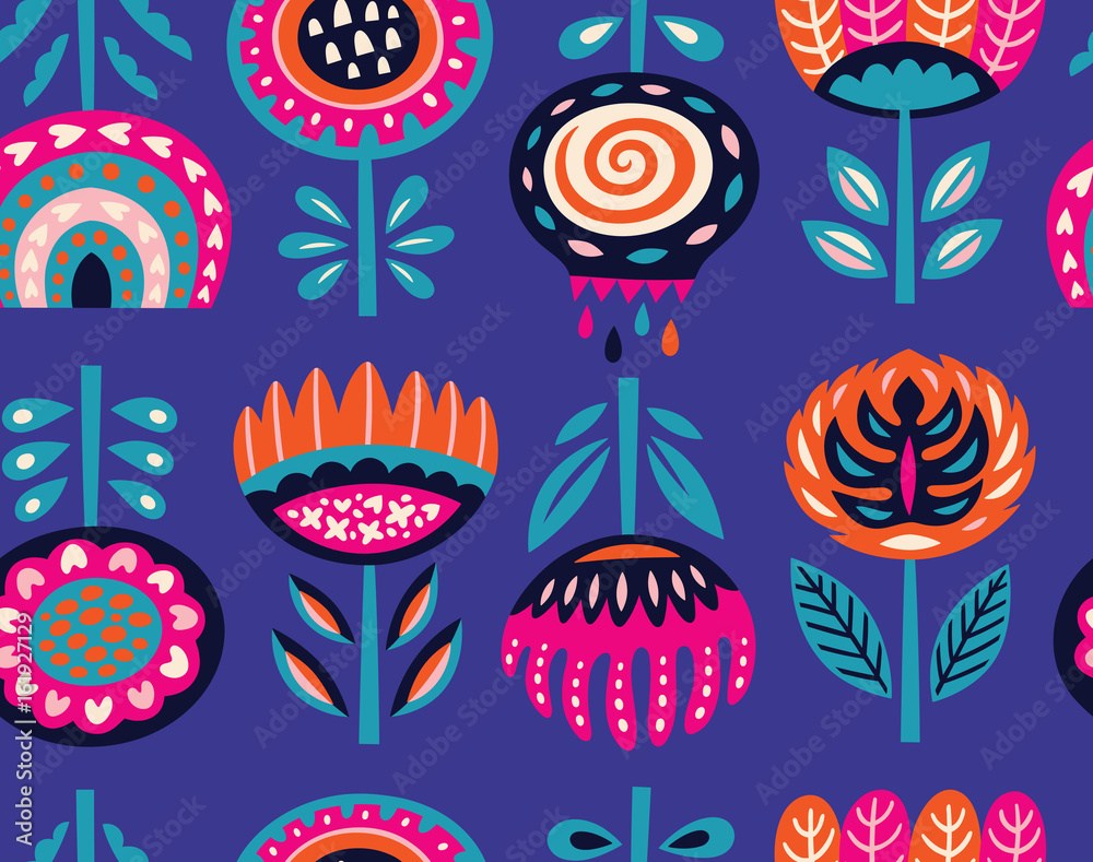 Seamless pattern with scandinavian flowers