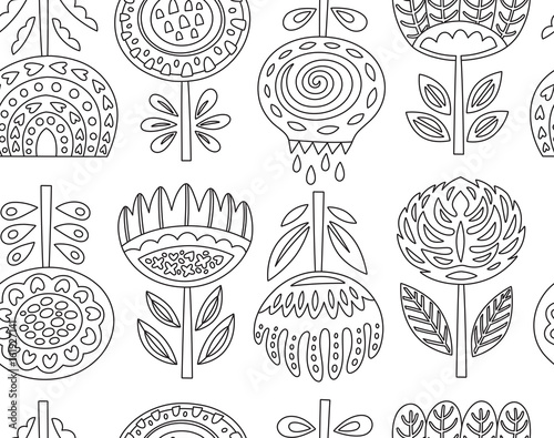 Fotografija  Outline seamless pattern with scandinavian flowers