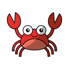 Cute Crab Sealife Character Ve...