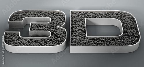 Fotografie, Obraz  Printed mesh 3D text on gray background. 3D illustration