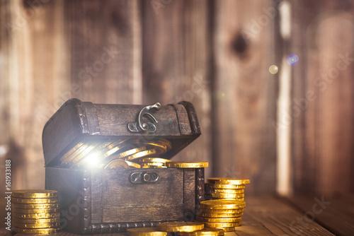 Fotomural 宝箱と金貨